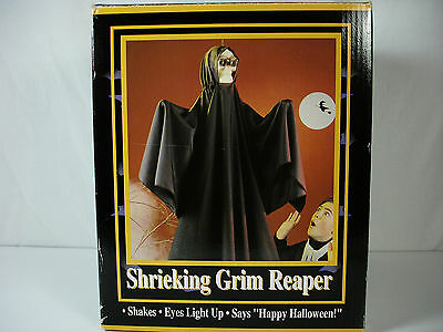 1993 Gemmy Grim Reaper Hanging Halloween Prop Eyes Light Up Shakes Talks Laughs