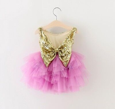 Baby Girls Sparkling Sequin Bow Tulle Dress Princess Birthday Party Wedding Gift