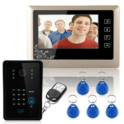 "Wired 7"" Video Door Intercom Doorbell Camera Monitor 1000TVL Wireless unlocks"
