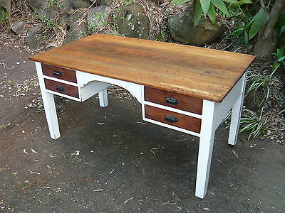 Antique Shabby Chic French Provincial Timber Desk Old Wooden Vintage Study Desk