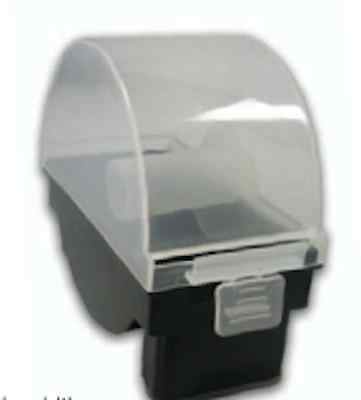 Plastic single roll dispenser for stock rotation labels - wall hang or stand