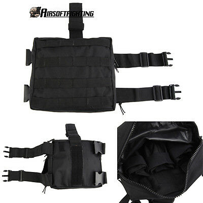 Hunting Molle Drop Leg Panel Utility Pouch Bag Magazine Pouch Tactical Black