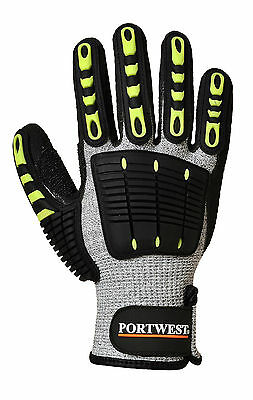 A722 PORTWEST Anti impact cut resistant reinforced grip work heavy duty gloves
