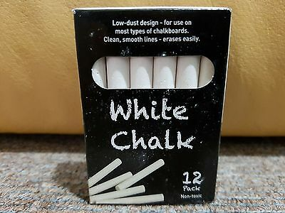 Non Toxic - Chalk 12 White Chalk Sticks - Quality made - Best for Children