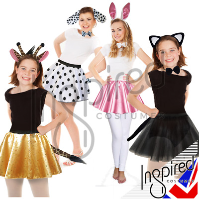 Girls WITCHES CAT BUNNY GIRAFFE Halloween ANIMAL Costume FANCY DRESS Accessories