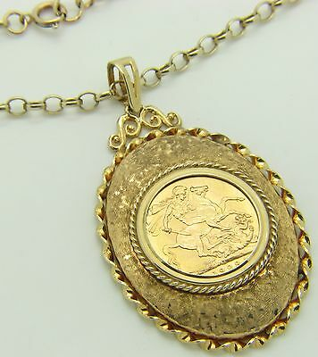 9ct 9Carat Yellow Gold Belcher Chain & 22ct George V 1928 Full Sovereign Pendant