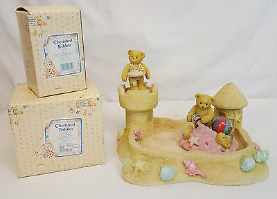 Cherished Teddies BY THE SEA Display with JIM & JOEY and JERRY Figurines MINT
