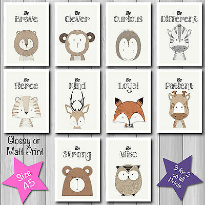 Cute Modern FOREST ANIMAL - QUOTES - Nursery Baby Christening Decor A5 Art Print