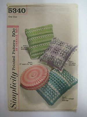 Vintage 1960's Simplicity 5340 SMOCKED PILLOW Sewing Pattern Square Round UNCUT
