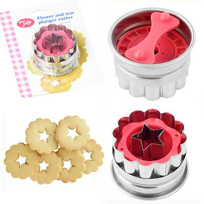 2 Cookie Plunger Cutter Flower Biscuit Bake Mold Mould Fondant Stainless Steel