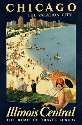 Chicago The Vacation City vintage travel poster repro 16x24