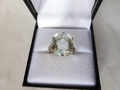 Superbe Bague Or Blanc 18Ct Ornee Belle Aigue-Marine Taille Coussin
