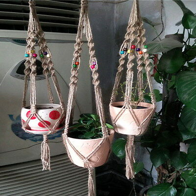 Durable Plant Hanger Flowerpot Holder Hand-woven Natural Hemp String Gardenpot