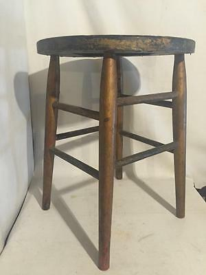 Antique Vintage WOOD Wooden SPINDLE LEG Piano Milking STOOL Round SEAT