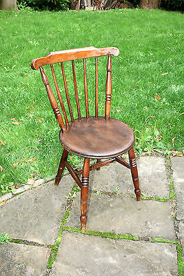 Compact Antique Victorian Solid Oak Wooden Dining Chair With Turned Supports