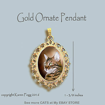 Bengal Striped Shorthair  Cat - Ornate Gold Pendant Necklace