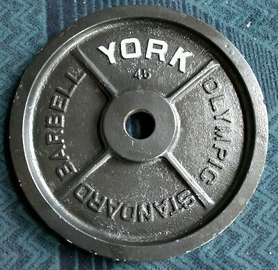 """Vintage York Barbell Olympic Milled 45 lb Pounds Weight Plate Single 2"""" 1x45 lbs"""