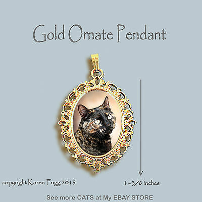 TORTISESHELL SHORTHAIR Cat Tortie - ORNATE GOLD PENDANT NECKLACE