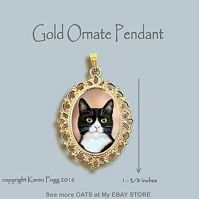 TUXEDO SHORTHAIR CAT Black and White - ORNATE GOLD PENDANT NECKLACE