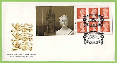 G.B. 2001 Victoria PL. booklet stamps Royal Mail First Day Cover, East Cowes