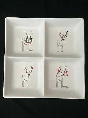 Dansk Rudy Reindeer Divided Serving Dish Platter Christmas Square