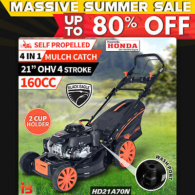 "New HONDA Powered 21""� Lawn Mower 4 Stroke Self Propelled Black Eagle"