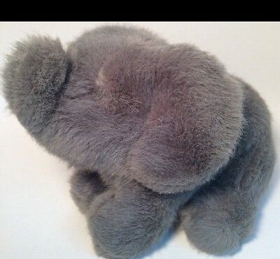 "DAKIN 1990 10"" Grey Sitting Elephant Big Ears Plush Lucky Trunk Facing Upward"