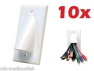 10x Single Gang Organize Bulk Wire Cable Wall Face Plate - White