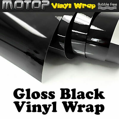 "12""x60""Gloss Black Glossy Vinyl Wrap Film Car Sticker Decal with Bubble Free NEW"