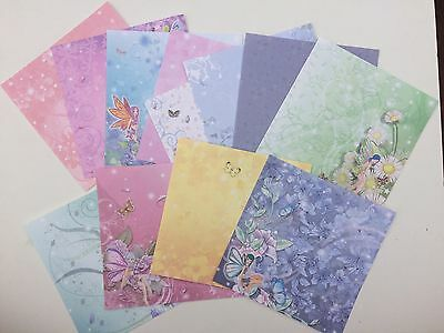 12 Fairy Garden Butterfly Floral Scrapbooking Card making Paper 6 X 6 Paperw