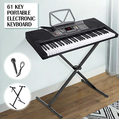Silver 61 Key Music Digital Electronic Keyboard Electric Piano Organ with Stand