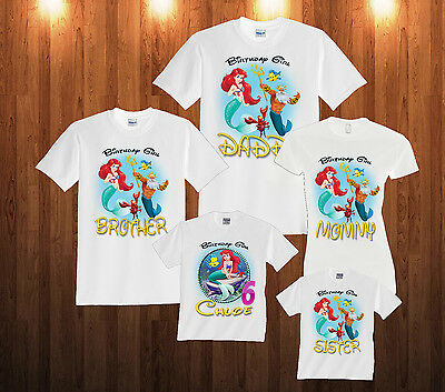 Personalized Custom The Little Mermaid Ariel Birthday T Shirt Family Shirts