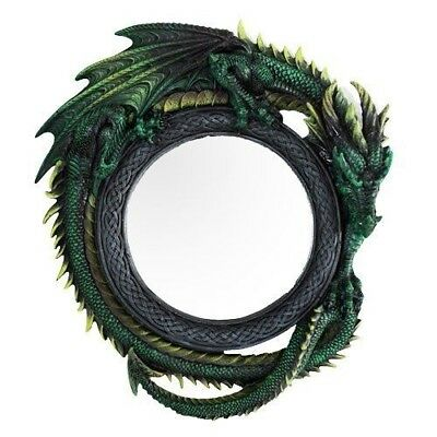 "11.75"" Tall Green Intertwined Dragon Round Wall Mirror Plaque Decorative"