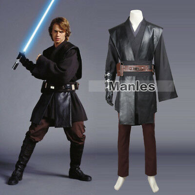 Star Wars Anakin Skywalker Cosplay Costume Jedi Knight Robe Halloween Outfit Men