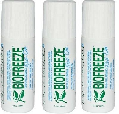 BIOFREEZE 3 OZ ROLL ON GEL - Pack Of 3 (Brand New)