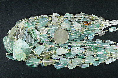 Ancient Roman Glass Beads 1 Medium Strand Green 100- 200 Bc Rm16