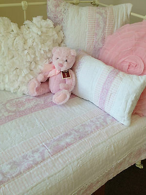 2 pce Juliet Pink Cot Quilt  Set Cotton Shabby Chic Baby Girl Nursery Comforter