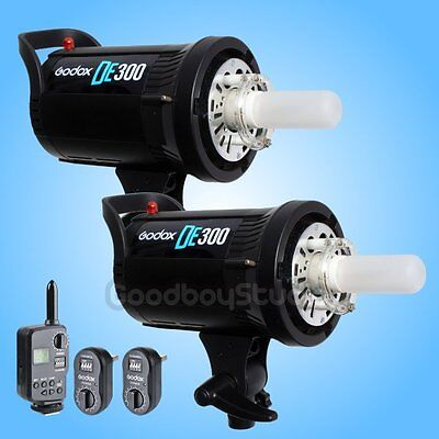 2PCS Godox DE300 300W Compact Studio Flash Strobe Light + FT-16 Trigger Kit 220V