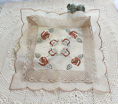 """Clearance Pretty Brown Peony Embroidery Crochet Lace Table Topper 20"""""""