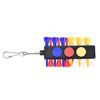 Golf Tee Holder Carrier with 12 plasticTees w 3 Ball Markers w 1 KeyChain FS