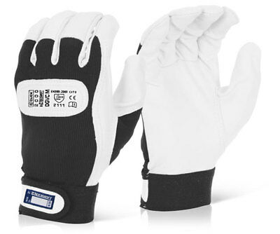 B-Click 2000 DGVC Velcro Cuff Drivers Work Leather Gloves All Sizes