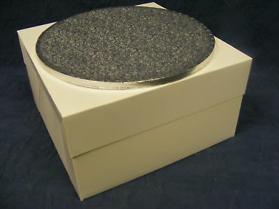 "20"" inch ROUND silver cake drum & white cake box set"