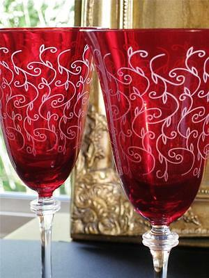 Boxed pair of Glamorous Bohemia CRYSTAL Ruby / Red wine glasses. NEW