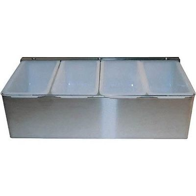 Condiment Dispenser 4 Compartments Winco Stainless Steel Bar Caddy Holder New