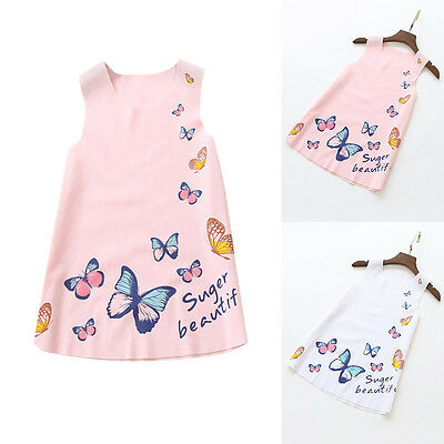 Summer Baby Girls Toddlers Kid Butterfly Sleeveless Dress Sundress Clothes 2-7Y