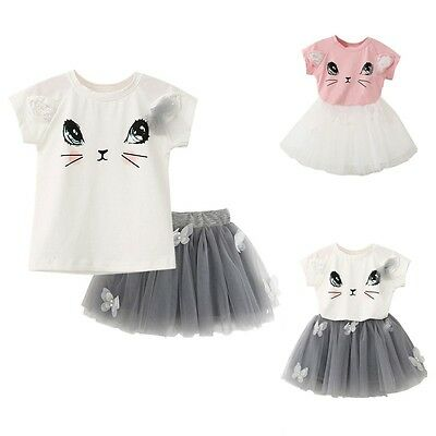 Toddler Kids Baby Girls Clothes T-shirt Tops+Tutu Dress Skirt Outfits 2PCS Sets