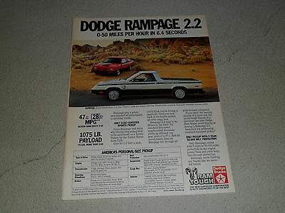 1983 DODGE RAMPAGE 2.2. #22 article / ad