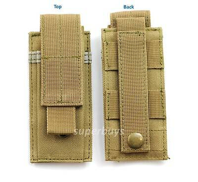 Khaki MOLLE Tactical Cordura Belt Pouch Holder Holster Bag Case Hold Torch Tool