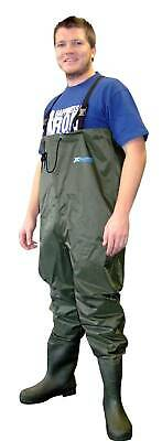 SHAKESPEARE X TACKLE WADERS Size 11 - Lug Sole - Olive Green