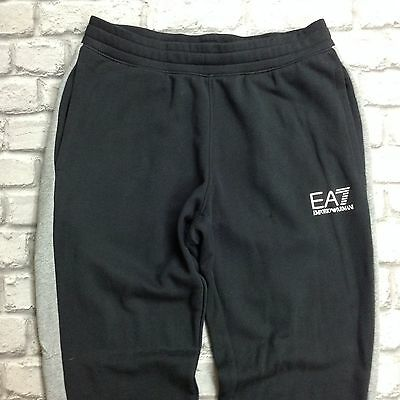 Emporio Armani Ea7 Uk Xl Black Grey Colour Block Jogging Bottoms Rrp £89